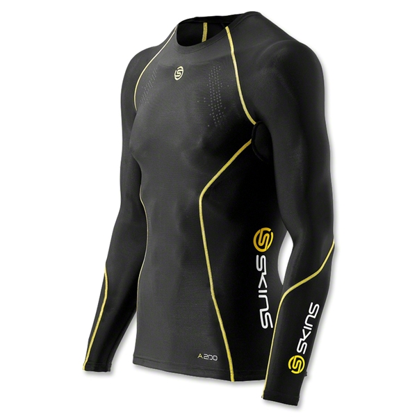 SKINS A200 LS Compression Top (Black/Yellow)