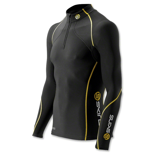 SKINS A200 Thermal LS Mock Neck Top with Zip (Black/Yellow)