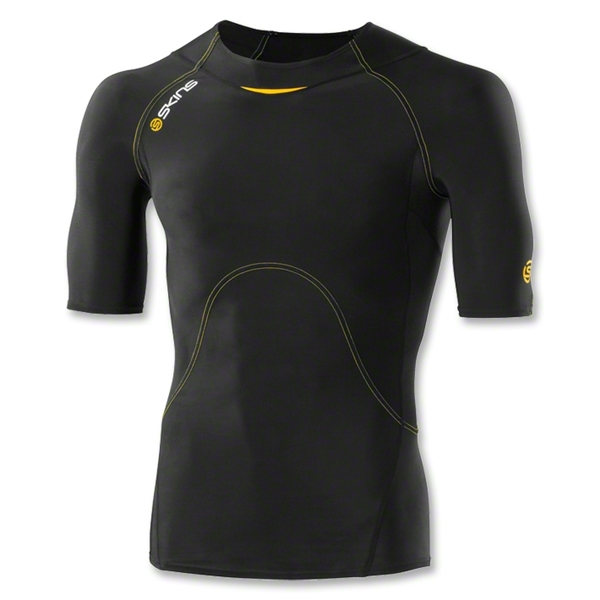 Skins A400 Short Sleeve Top (Blk/Yellow)