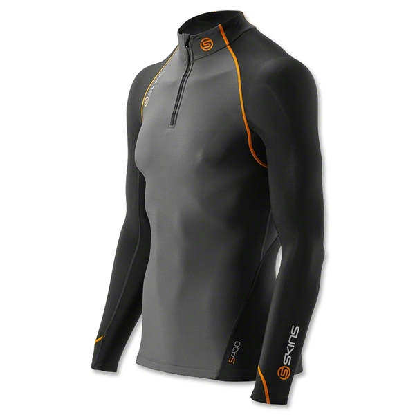 Skins S400 Thermal Long Sleeve Top Mock Neck w/ Zip (Blk/Orange)