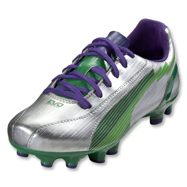PUMA evoSpeed 5 FG Junior (PUMA Silver/Team Green/Team Violet)