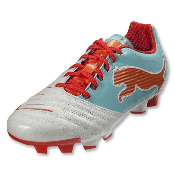 PUMA Women's PowerCat 3.12 FG (White/Pool Blue/Carrot)
