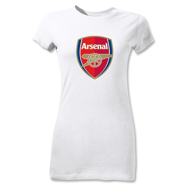 Arsenal Crest Junior Women's T-Shirt (White)