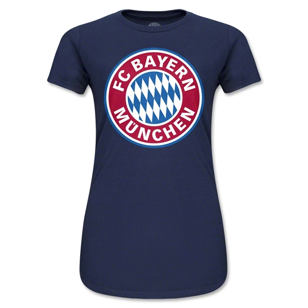 Bayern Munich Logo Junior Women's T-Shirt (Navy)