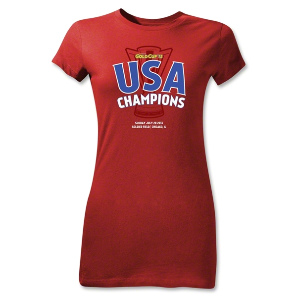 USA CONCACAF Gold Cup 2013 Champions Junior Women's T-Shirt (Red)