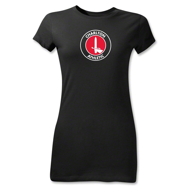 Charlton Athletic Crest Junior Women's T-Shirt (Black)