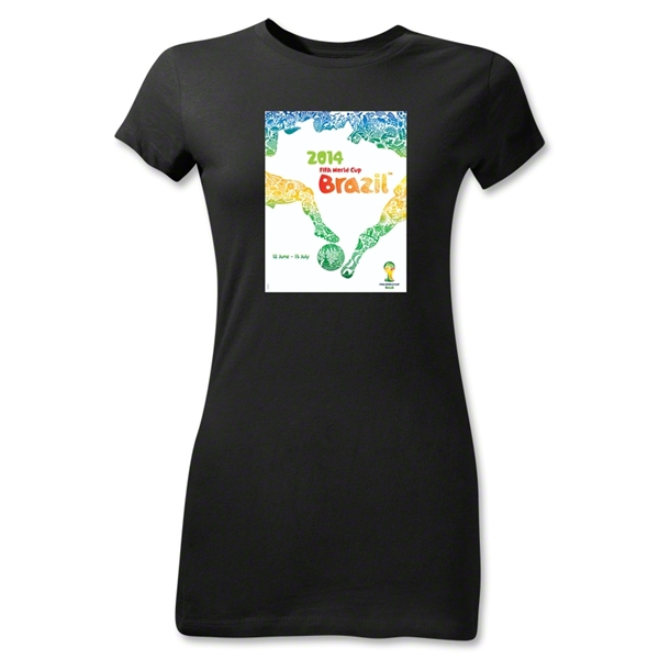 2014 FIFA World Cup Brazil(TM) Junior Women's Official Event Poster T-Shirt (Black)