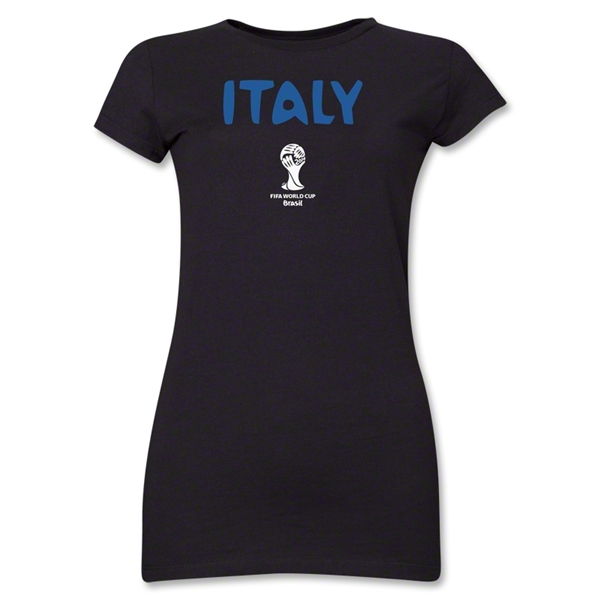 Italy 2014 FIFA World Cup Brazil(TM) Jr Women's Core T-Shirt (Black)