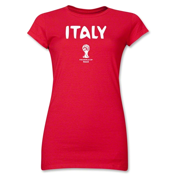 Italy 2014 FIFA World Cup Brazil(TM) Jr Women's Core T-Shirt (Red)