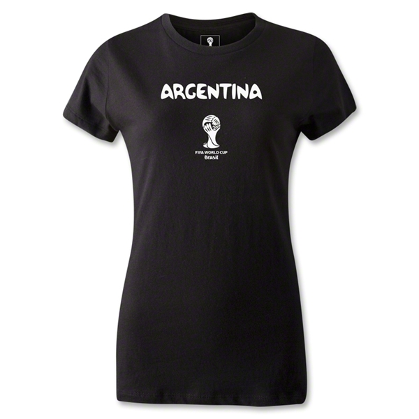 Argentina 2014 FIFA World Cup Brazil(TM) Jr Women's Core T-Shirt (Black)