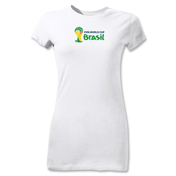 2014 FIFA World Cup Brazil(TM) Junior Women's Landscape Emblem T-Shirt (White)