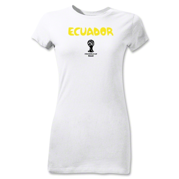 Ecuador 2014 FIFA World Cup Brazil(TM) Jr Women's Core T-Shirt (White)