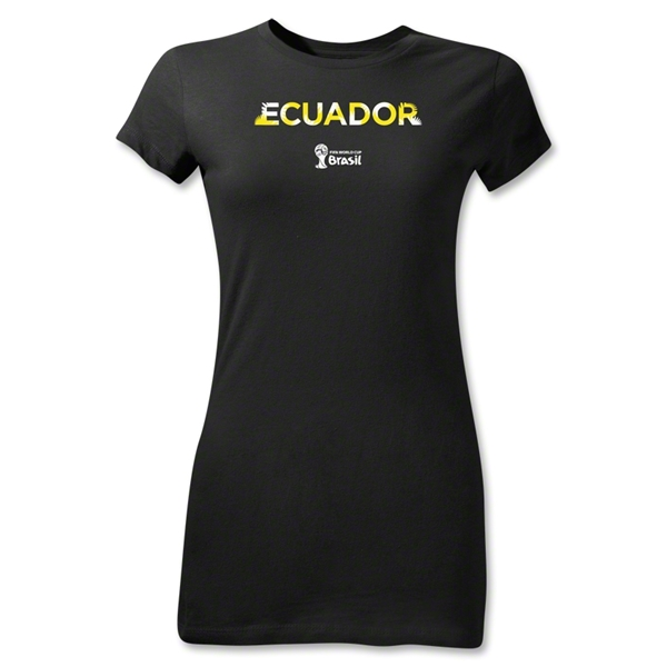 Ecuador 2014 FIFA World Cup Brazil(TM) Jr Women's Palm T-Shirt (Black)