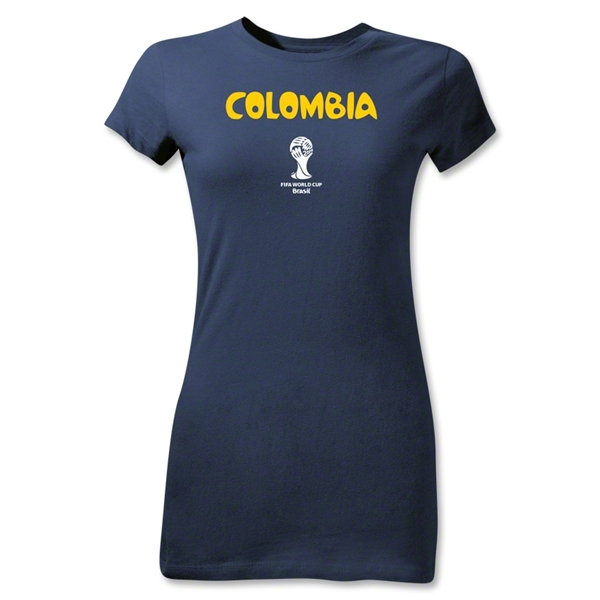 Colombia 2014 FIFA World Cup Brazil(TM) Jr Women's Core T-Shirt (Navy)