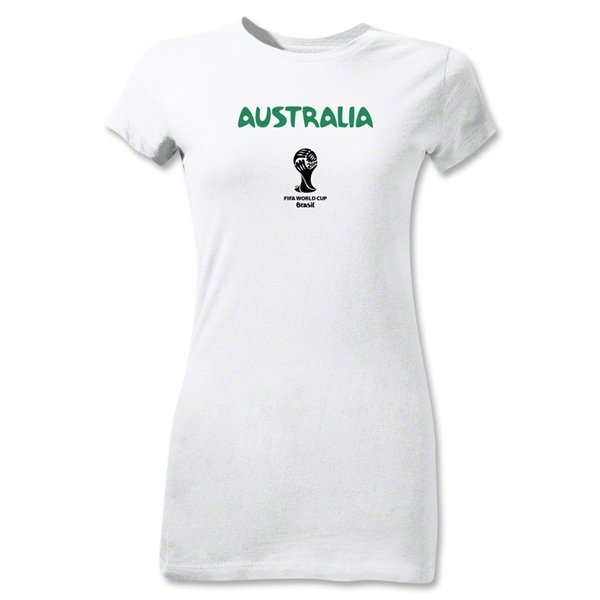Australia 2014 FIFA World Cup Brazil(TM) Junior Women's T-Shirt (White)