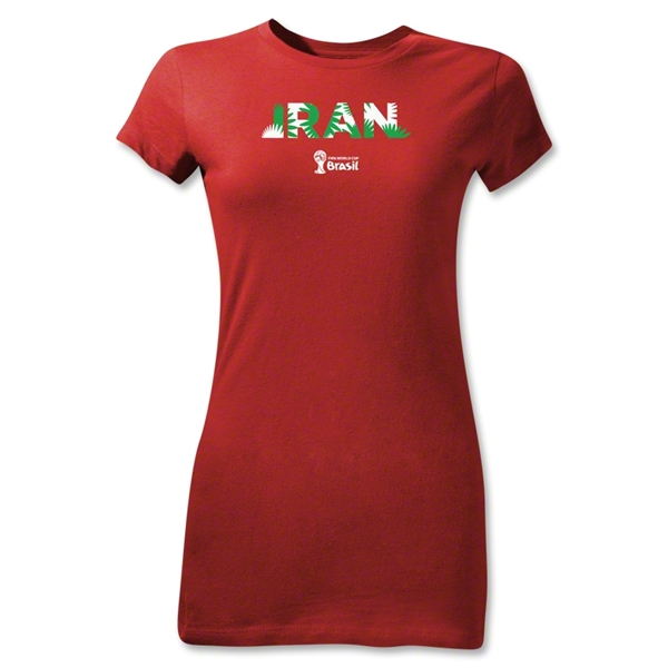 Iran 2014 FIFA World Cup Brazil(TM) Junior Women's Palm T-Shirt (Red)