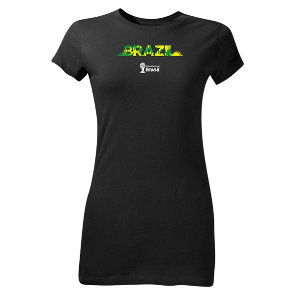 Brazil 2014 FIFA World Cup Brazil(TM) Junior Women's Palm T-Shirt (Black)