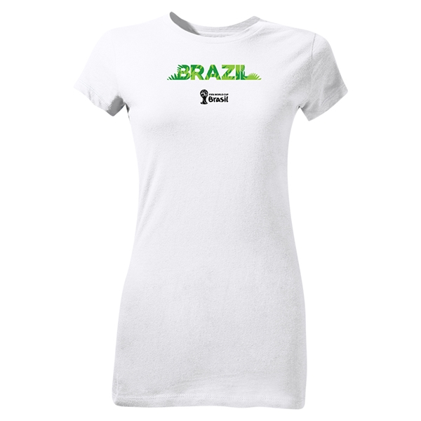 Brazil 2014 FIFA World Cup Brazil(TM) Junior Women's Palm T-Shirt (White)