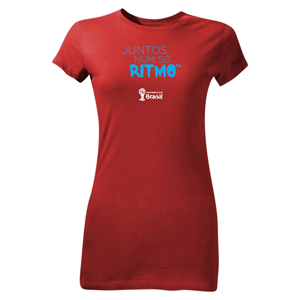 2014 FIFA World Cup Brazil(TM) Junior Women's Portugese All In One Rhythm T-Shirt (Red)