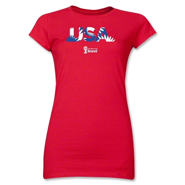 USA 2014 FIFA World Cup Brazil(TM) Junior Women's Palm T-Shirt (Red)