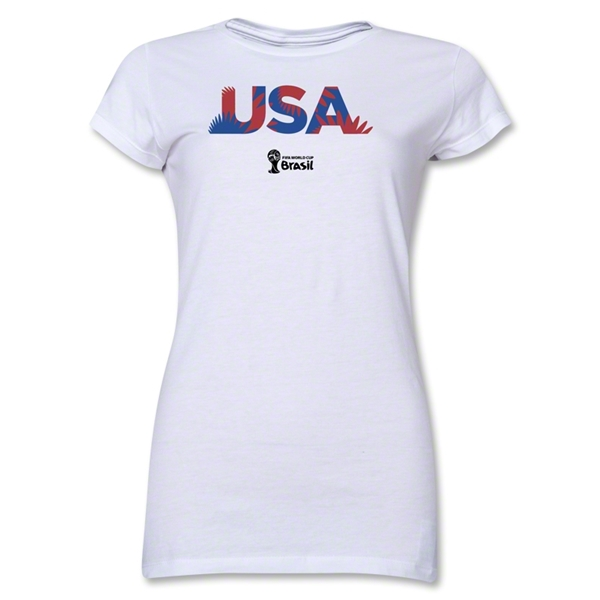 USA 2014 FIFA World Cup Brazil(TM) Junior Women's Palm T-Shirt (White)