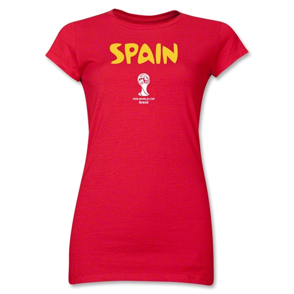 Spain 2014 FIFA World Cup Brazil(TM) Junior Women's Core T-Shirt (Red)