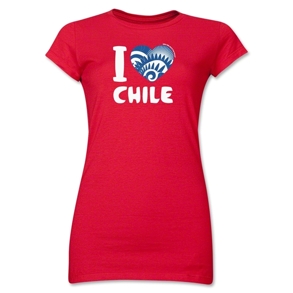 I Heart Chile 2014 FIFA World Cup Brazil(TM) Jr. Women's T-Shirt (Red)