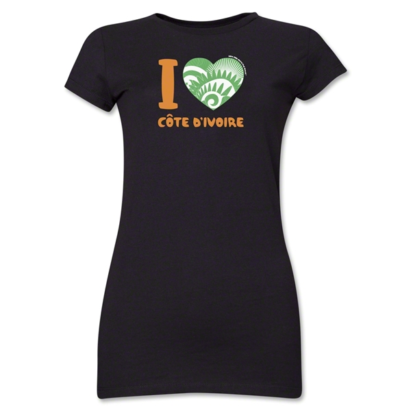 I Heart Cote d'Ivoire 2014 FIFA World Cup Brazil(TM) Jr. Women's T-Shirt (Black)
