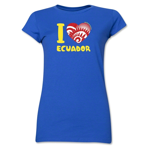 I Heart Ecuador 2014 FIFA World Cup Brazil(TM) Jr. Women's T-Shirt (Royal)