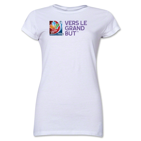 FIFA Women's World Cup Canada 2015(TM).Junior Women's French Slogan T-Shirt (White)