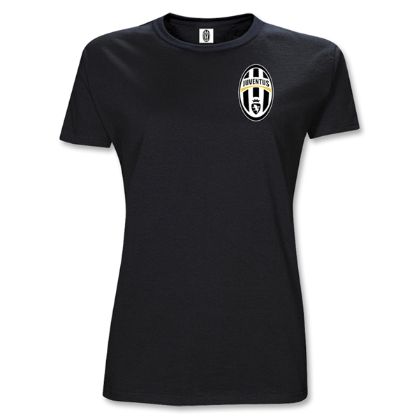Juventus Junior Women's Crest T-Shirt (Black)