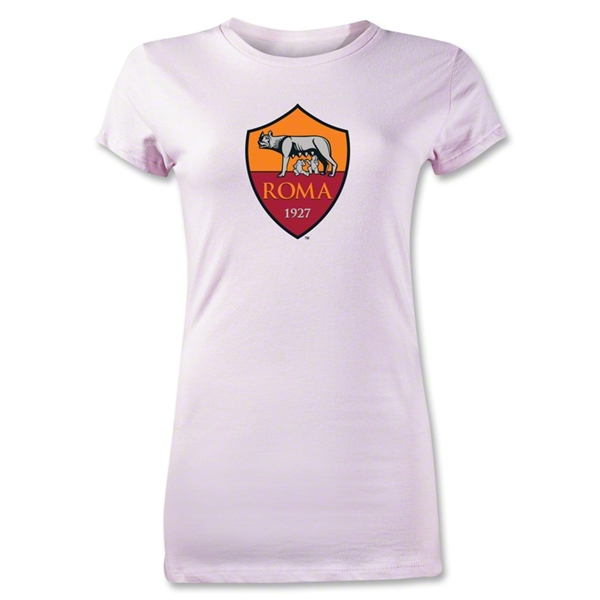 AS Roma Crest Junior Women's T-Shirt (Pink)