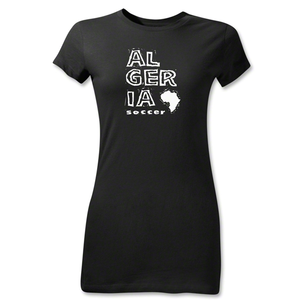 Algeria Junior Women's Country T-Shirt (Black)
