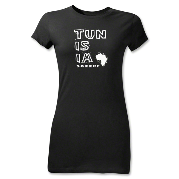 Tunisia Junior Women's Country T-Shirt (Black)
