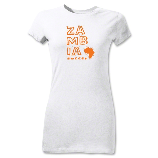 Zambia Junior Women's Country T-Shirt (White)