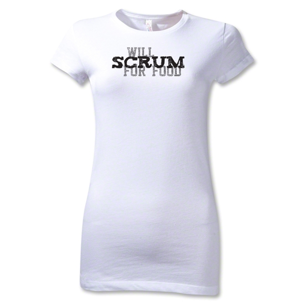 Will Scrum for Food Junior Women's T-Shirt (White)