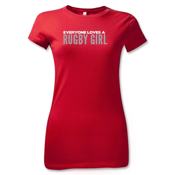 Everyone Loves a Rugby Girl Junior Women's T-Shirt (Red)