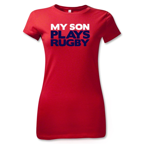 My Son Plays Rugby Junior Women's T-Shirt (Red)
