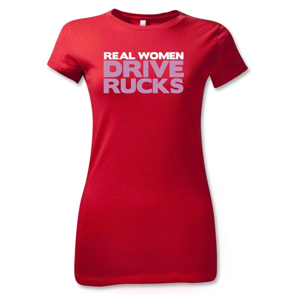 Real Women Drive Rucks Junior Women's T-Shirt (Red)