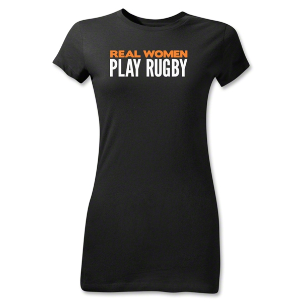 Real Women Play Rugby Junior Women's T-Shirt (Black)