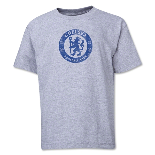 Chelsea Distressed Emblem Youth T-Shirt (Gray)