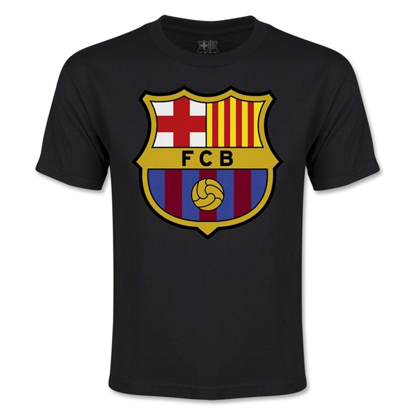 Barcelona Licensed Crest Youth T-Shirt (Black)