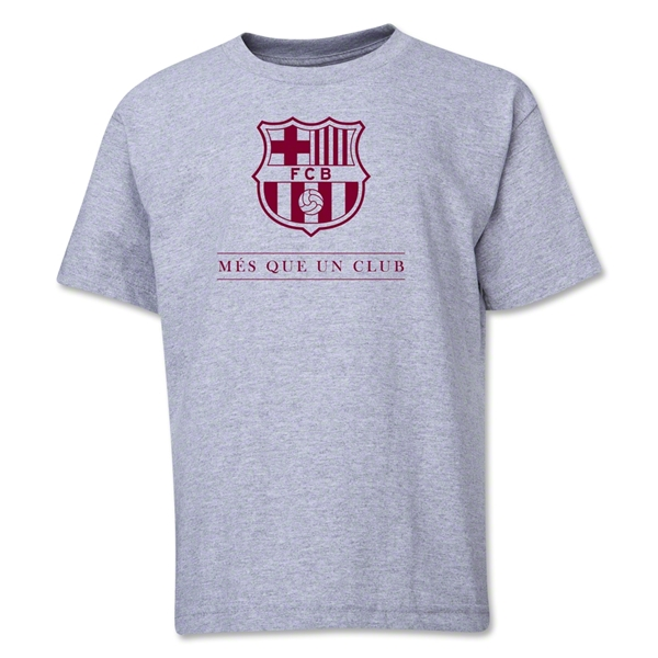 Barcelona Mes Que Un Club Youth T-Shirt (Gray)