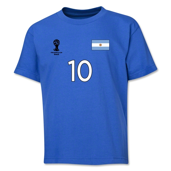 Argentina 2014 FIFA World Cup Brazil(TM) Youth Number 10 T-Shirt (Royal)