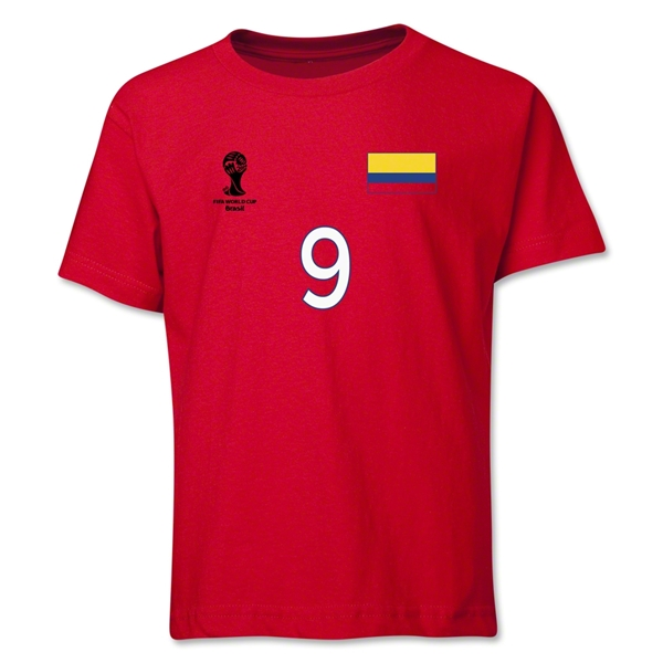 Colombia 2014 FIFA World Cup Brazil(TM) Youth Number 9 T-Shirt (Red)