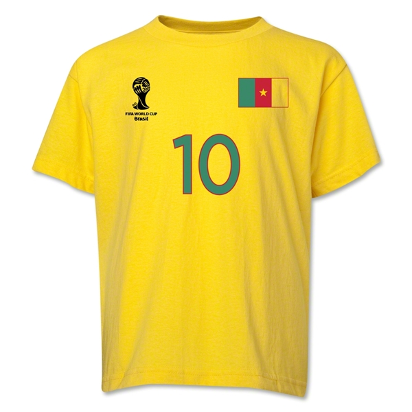 Cameroon 2014 FIFA World Cup Brazil(TM) Youth Number 10 T-Shirt (Yellow)