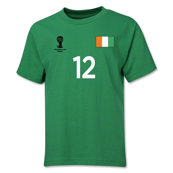 Cote d'Ivoire 2014 FIFA World Cup Brazil(TM) Youth Number 12 T-Shirt (Green)