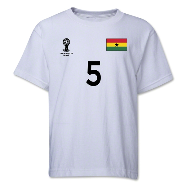 Ghana 2014 FIFA World Cup Brazil(TM) Youth Number 5 T-Shirt (White)