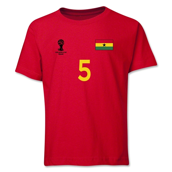 Ghana 2014 FIFA World Cup Brazil(TM) Youth Number 5 T-Shirt (Red)