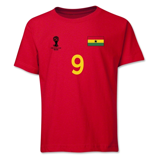 Ghana 2014 FIFA World Cup Brazil(TM) Youth Number 9 T-Shirt (Red)